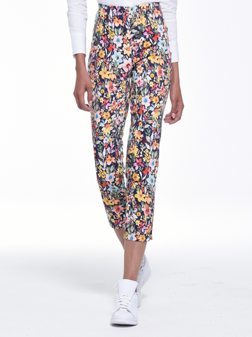 Floral Pattern 'Lena' Trousers With Cut Out Bottom