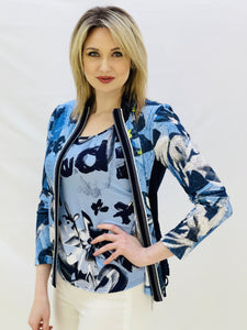 Blue and Navy Jacket and Cami Set With Abstract Print