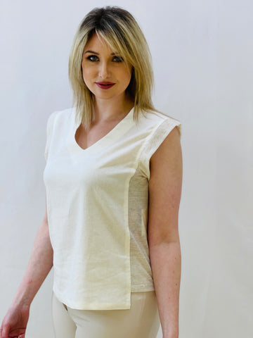 Cream T-Shirt With Side Panels