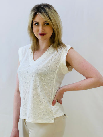 Cream V Neck T-Shirt