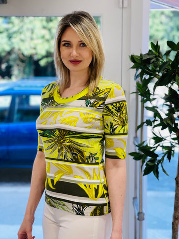 Lime Ribbed T-Shirt With Leaf Design