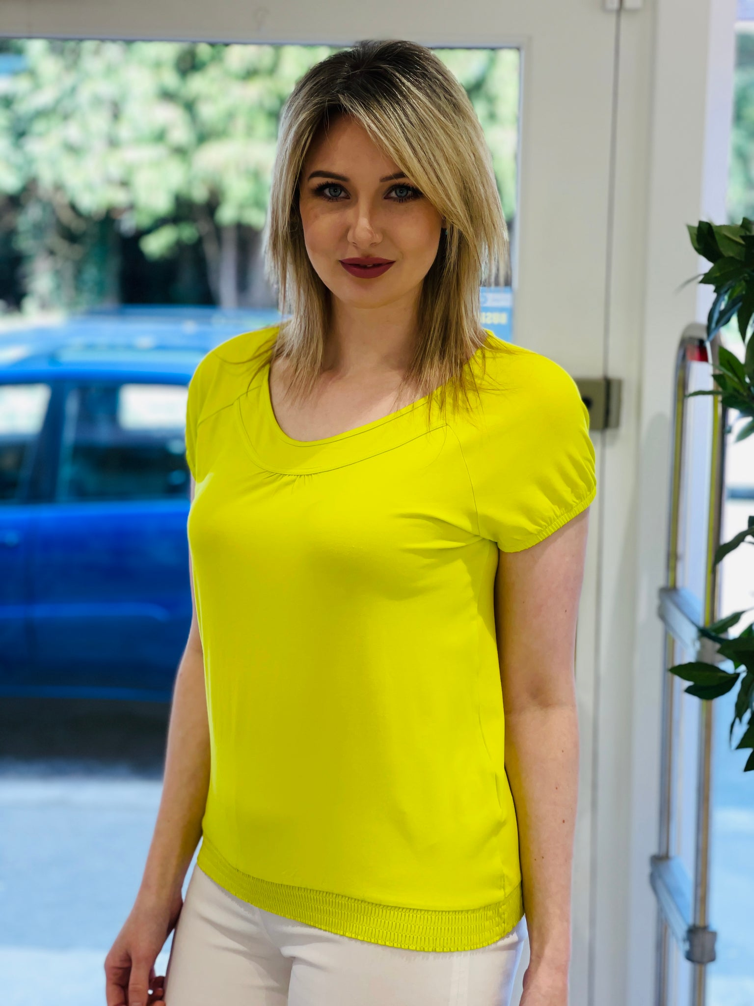 Neon Lime Top With Elasticated Band