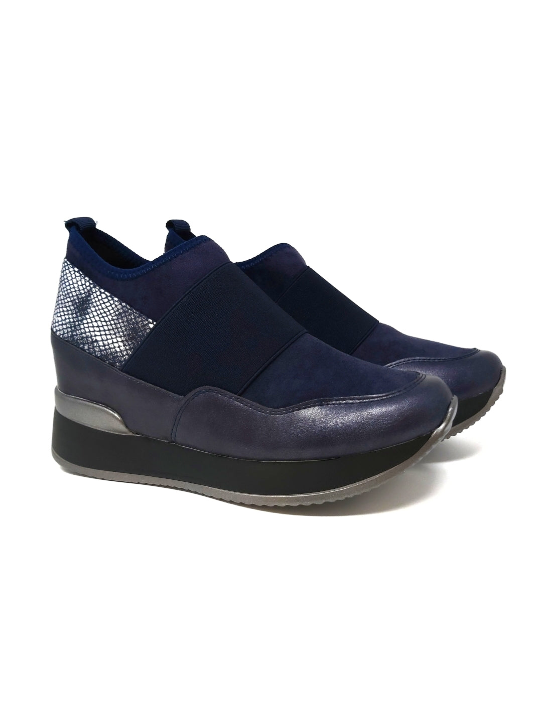 Platform Trainers With Snake Skin Detail Navy