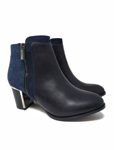Athena Navy Boots with Velvet Detail