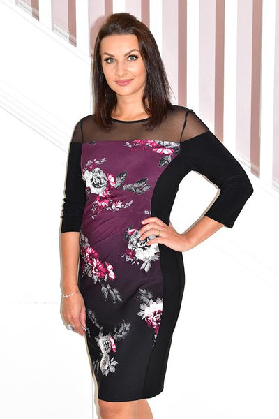 Floral Pattern Dress With Panels