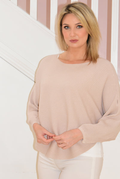 Beige Knitted Ribbed Jumper