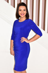 Royal Sapphire Dress With Ruching Frill & Buttons