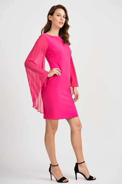 Flared Sleeve Hot Pink Dress