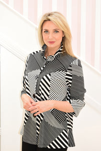 Black and White Line Print Top with Buttons