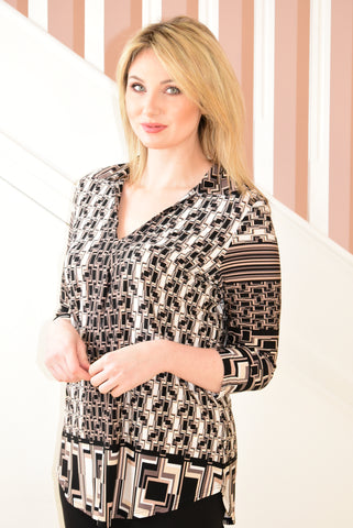 Black Collared Blouse With Beige Colour Design