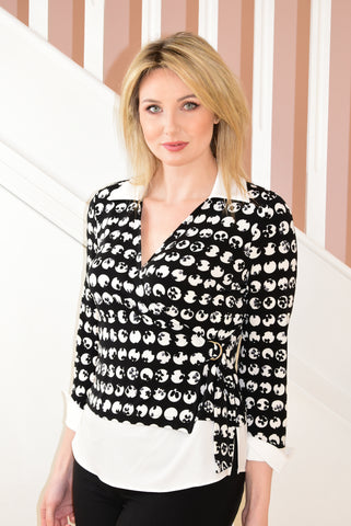 2 Piece Effect Black and White Dot Design Blouse
