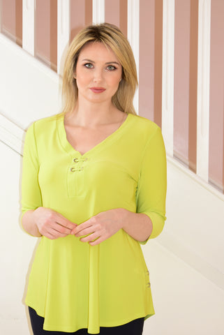 Neon Lime V-Neck Tunic With String Tie Effect