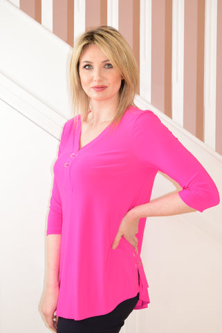 Neon Pink V-Neck Tunic With String Tie Effect