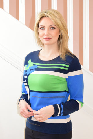 Green and Blue Knit-Feel Top