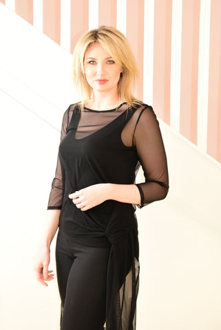 Black Tunic With Sheer Overlay