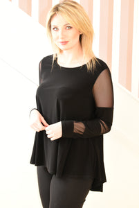 Black Top With Sheer Sleeve Design
