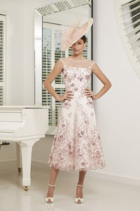 Blush/Ivory Dress With Floral Lace Detail