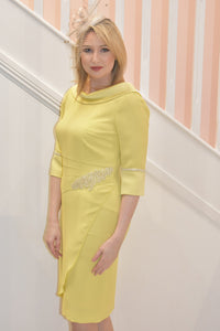 Bright Yellow Dress With Diamond Embellishment On Waist