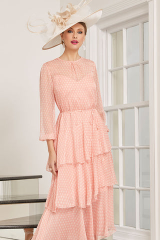 Peach Polka Dot Dress With Belt & Buttons