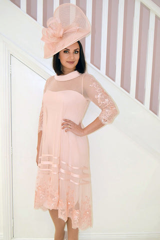 Vintage Rose & Ivory Lace Dress With Cowl Neck & Sequinned Sleeves