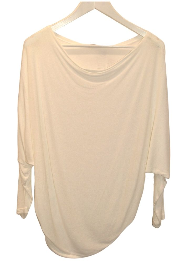 Cowl Neck Cream Top with Long Sleeves