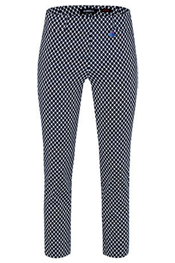 Robell Rose 09 Navy Dotted Print Trousers