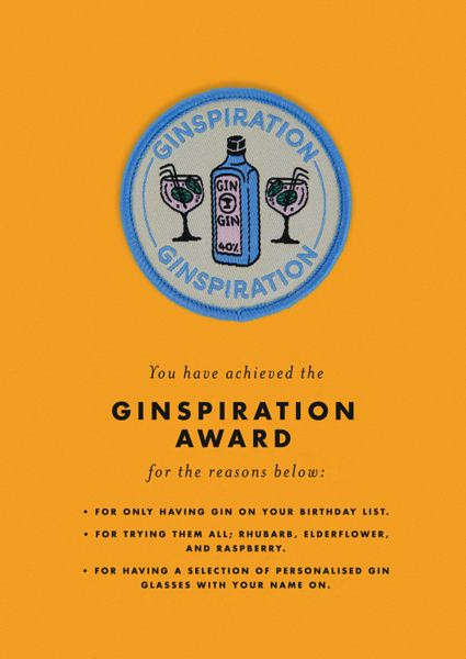 Ginspiration Award Patch Card