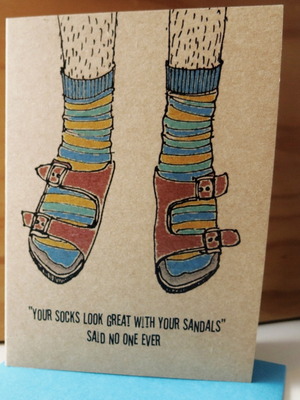 Crimes of Fashion Socks and Sandles Card