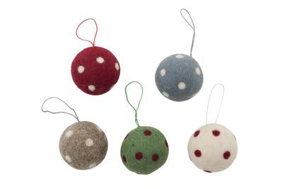Felt Ball with Spots Hanging Decoration