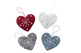 Felt Heart with Spots Hanging Decoration