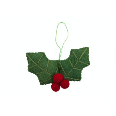 Felt Holly Leaves Hanging Decoration