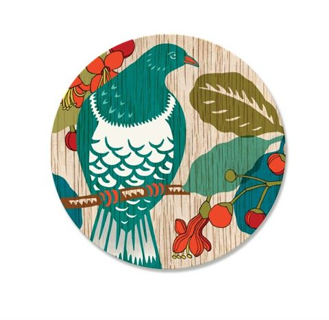 Screenprint Kereru Coaster