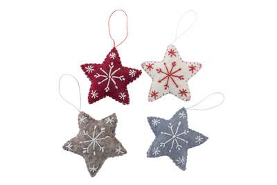 Felt Star with Snowflake Hanging Decoration