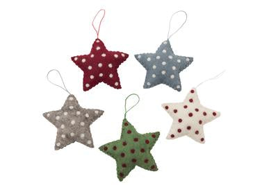 Felt Star with Spots Hanging Decoration