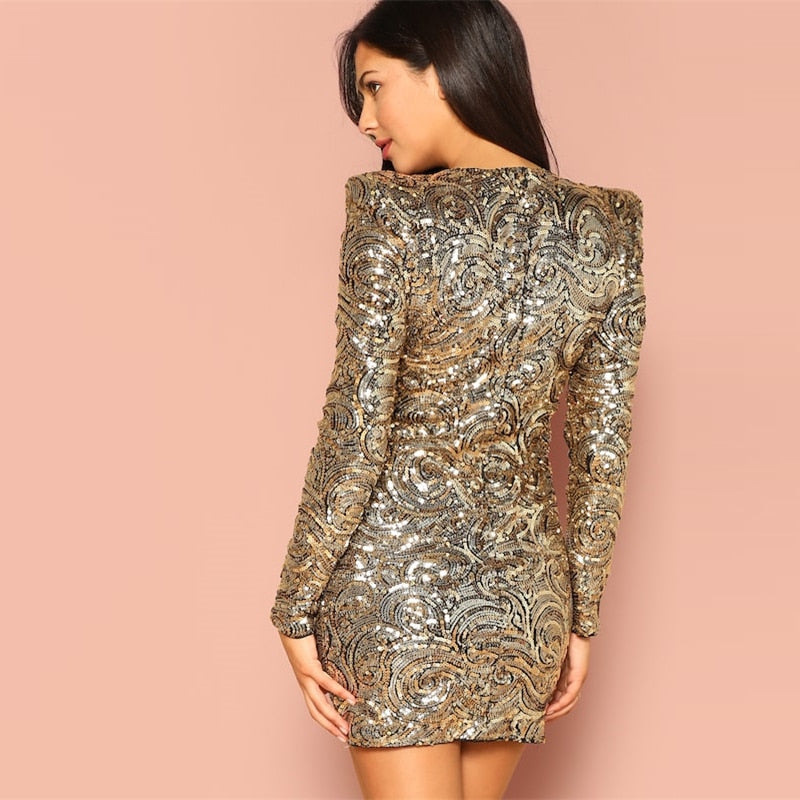 Gold Form Fitting Sequin Round Neck Long Sleeve Dress