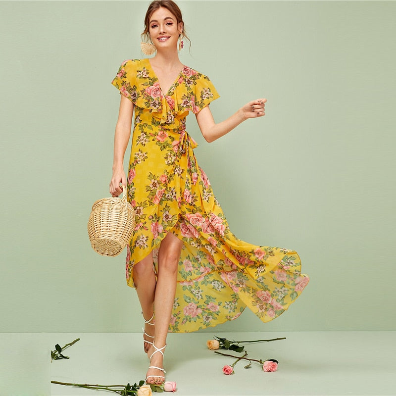 Floral Knot Wrap Dress