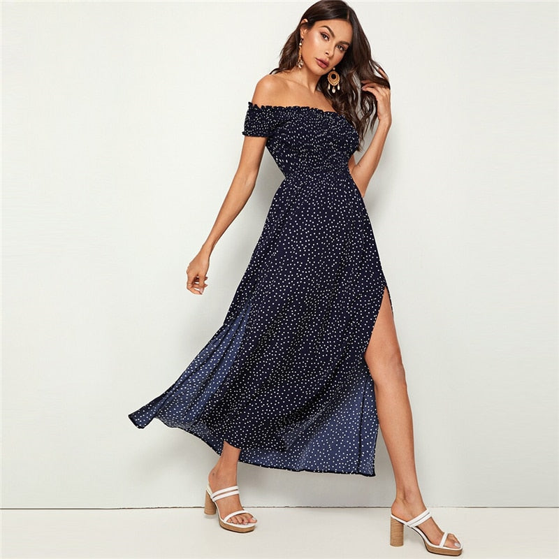 Navy Off Shoulder Split Leg Polka Dot Dress
