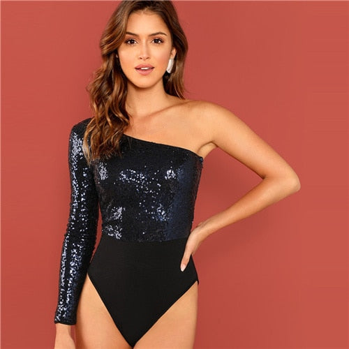 Sequin One Shoulder Long Sleeve Bodysuit