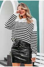 Backless Mohair Casual Stripe Pullover Sweater