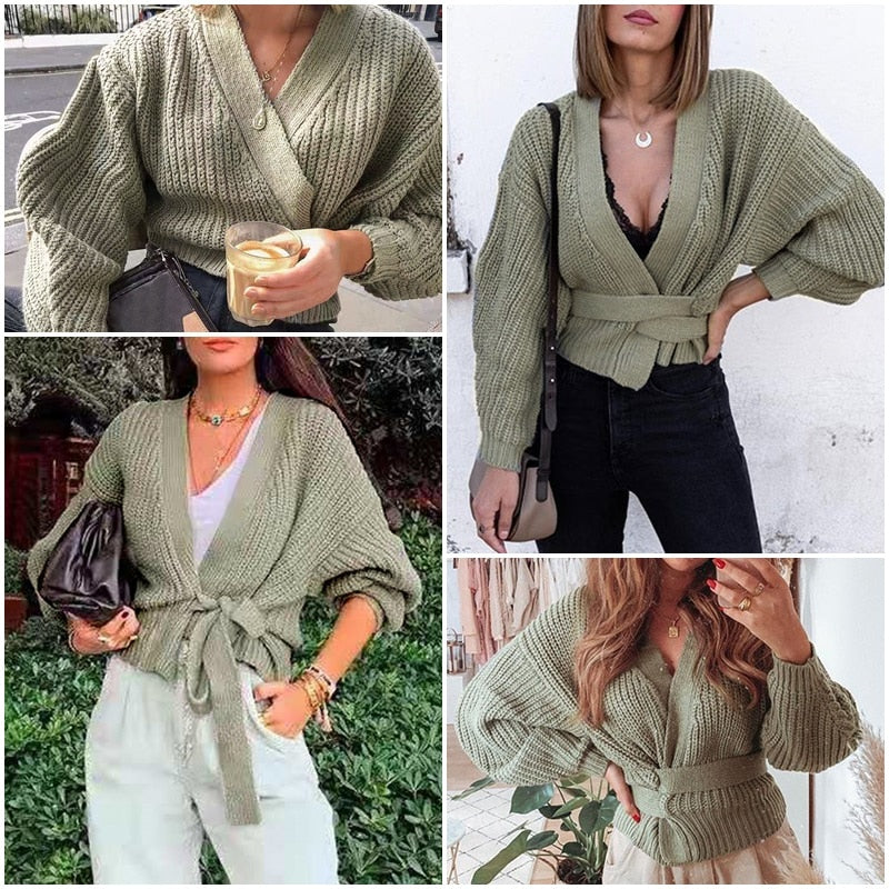 V-neck Knitted Cardigan Sweater