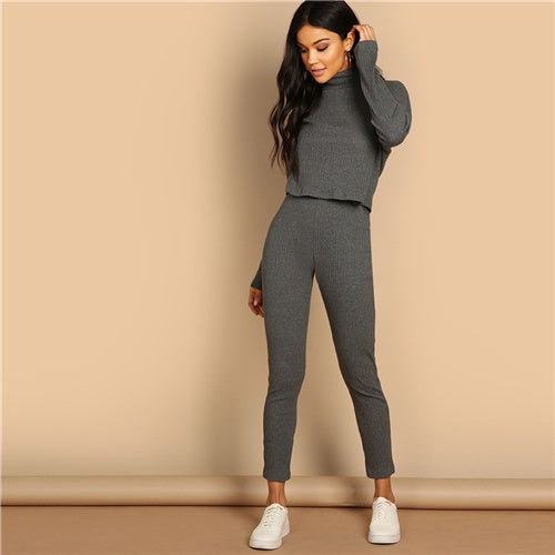 Grey Turtleneck Rib-knit Crop Top and Leggings Two Piece Set