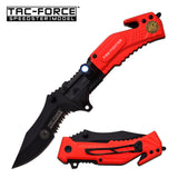 "Tac-Force 4.75"" Fire Department Folding Rescue Knife with LED Light"