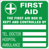 First aid box is controlled by safety sign