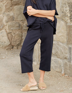 Cropped Wide Leg Sweatpant in British Royal Navy