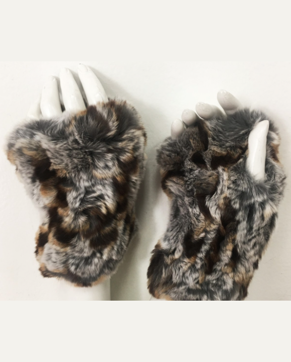 Genuine Rex Rabbit Hand Warmers In Grey Multi