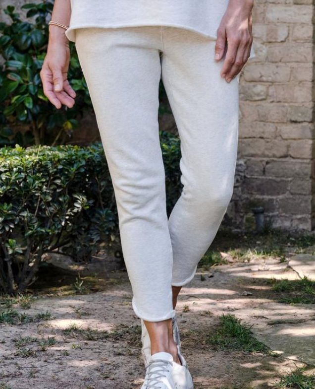 Tulip Ankle Sweatpant in Heather White Melange