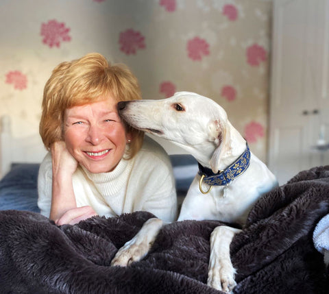 Kathy Hopton with a lurcher dog care guest