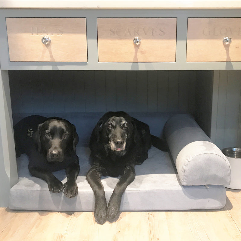 Bespoke orthopaedic dog bed with back and side bolsters