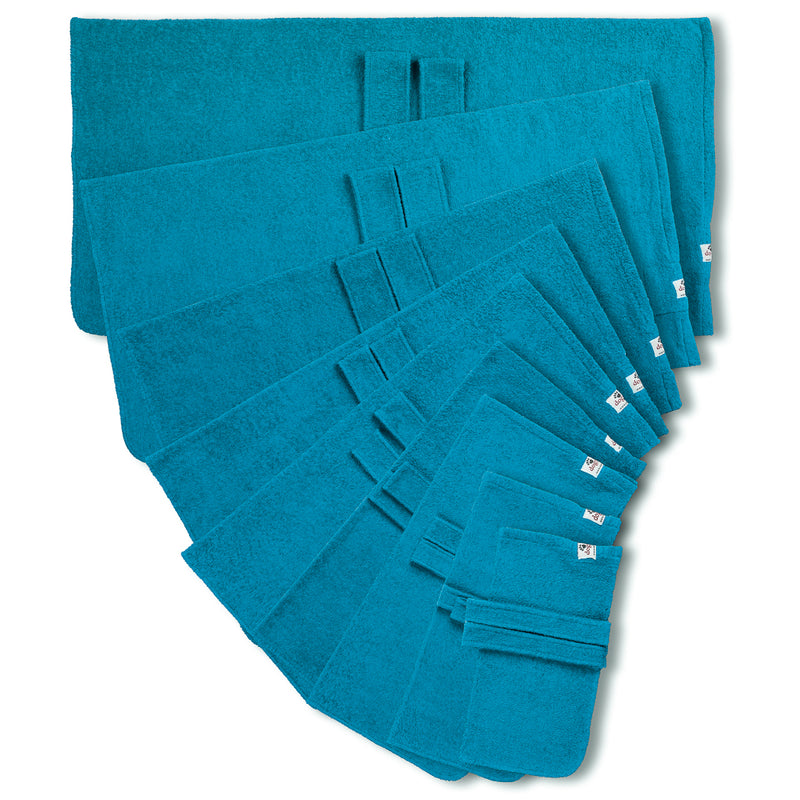Dog drying coat from Dogrobes in nine sizes - teal