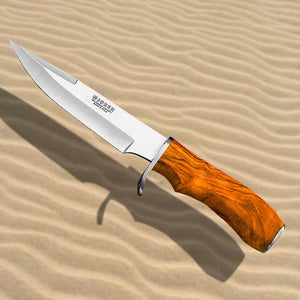 "Tiger 5-3/4"" Hunting Knife - Olive Wood Handle"